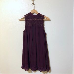 Dresses & Skirts - Altar'd State Wine High Neck Swing Dress Small
